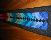 Gorgeous French Braid Table Runner Quilted Colorful Holiday Table Rainbow Happy