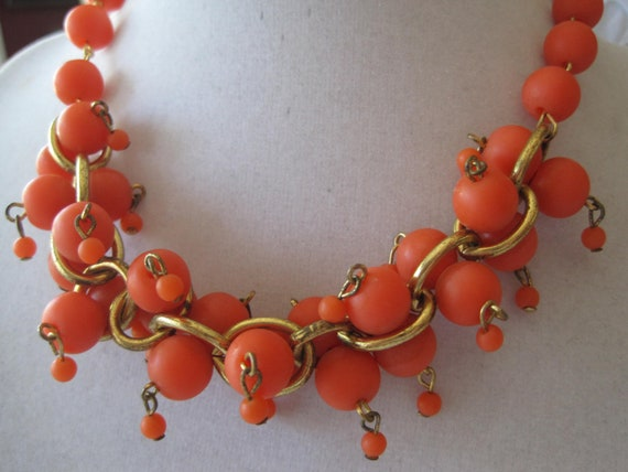 Reserved for AndreaVintage Orange Plastic Chunky Bead Necklace