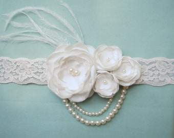 Ivory/Cream Feather Flower Girl Lace Headband/ Newborn Headband/1920s Style Headband