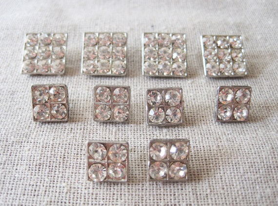 10 square vintage antique rhinestone or paste silver metal buttons