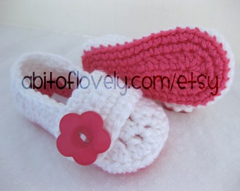 Easter Baby Girl Shoes / Booties - Pink & White, Bright Pink Flower - YOUR choice size - (newborn - 12 months) - photo prop - children