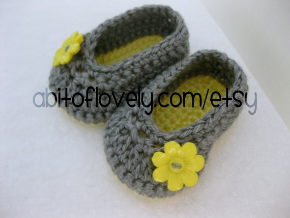 Baby Girl Shoes / Booties / Slippers Yellow Flower & Grey - YOUR CHOICE size newborn - 12 months - photo prop - clothing