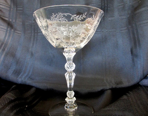 "RESERVED Vintage Fostoria Crystal ""Chintz"" Stemware - Champagne"