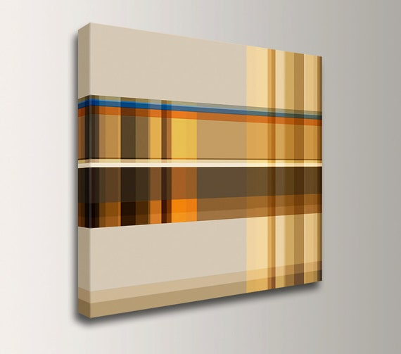 "Line Art - Square Canvas Print - Modern Canvas Art  - Orange Tan and Yellow Wall Art - "" Interlace """