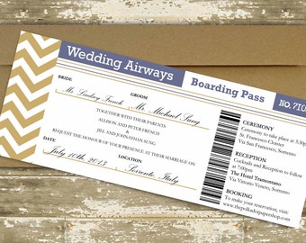Destination Wedding Invitation / Boarding Pass Wedding Invitation / Plane Ticket Invitation / Cruise Ship Ticket