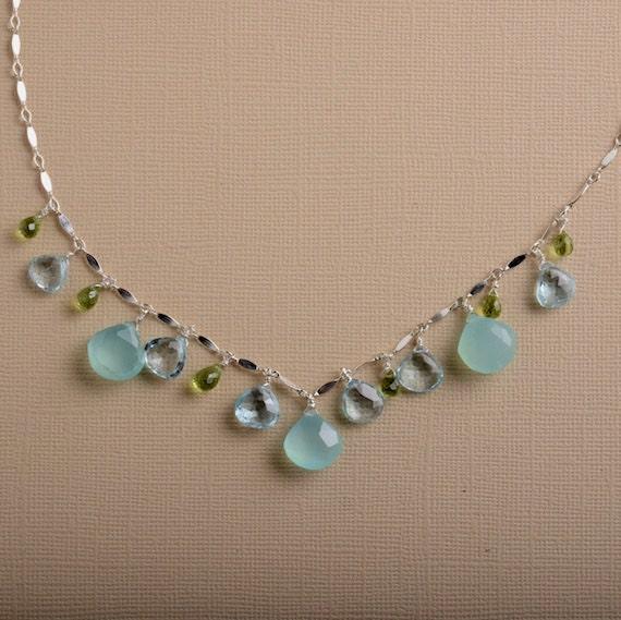 August birthstone necklace green peridot blue topaz necklace ocean