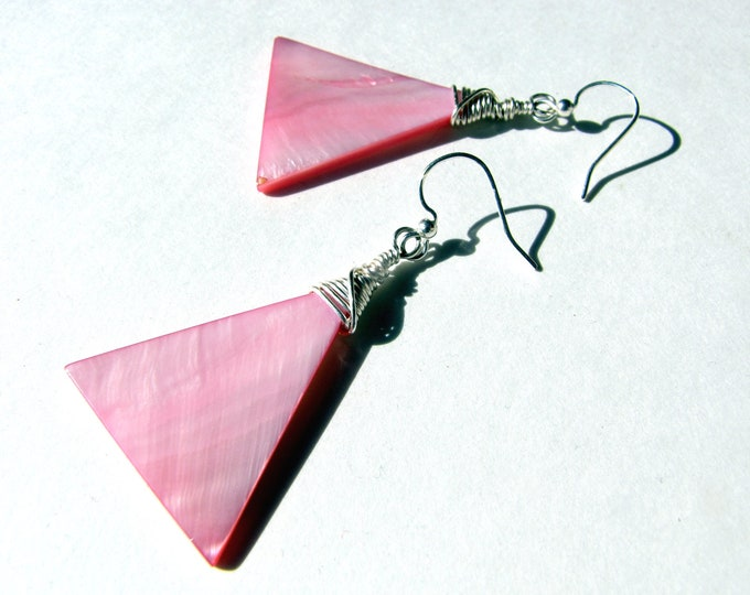 Pink Shell Earrings with Silver Wire Wrap Modern Twist Handmade