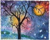 Watercolor Moon, Watercolor Painting, Watercolour Paintings, Modern Art For Sale, Kids Art, Best Birthday Gift, Batik Art