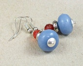 Blue orange earrings with angelite and agate