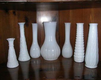 Milk Glass Vases   Large  small   Set  of  7     want to mix an match  many more in shop and available