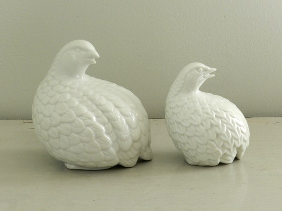 Vintage White Quail Pheasant Figurine Sculpture Pair Two White Pottery Fall Decor