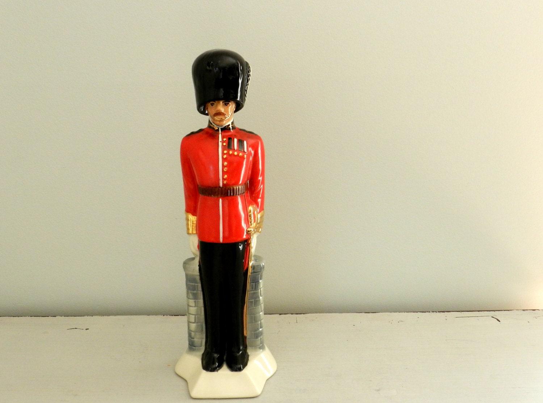 Vintage Liquor Decanter Baware British Royal Guard Soldier Red
