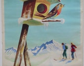 "Original vintage french travel poster ""winter sports"" by Jean Leger"