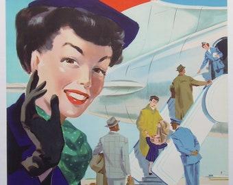 Original vintage Swissair travel poster by Hans Looser 1953