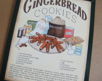 Wood GINGERBREAD COOKIE Recipe Sign Retro Primitive Vintage Country KITCHEN Wall Decor