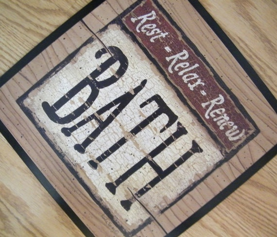 Vintage Wooden Signs Home Decor: Retro Primitive Country Vintage BATHROOM Sign REST Relax RENEW
