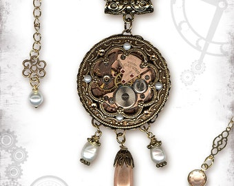Golden Rosette Steampunk Wedding Necklace - A Window in Time 2 - Za Dee Da - Time Traveller Collection