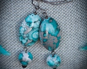 Marbled Shades of Gray & Turquoise Dangle Earrings - FREE SHIPPING