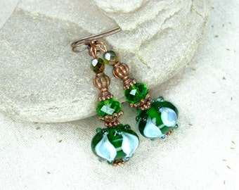 Copper Green Earrings - Gift for her - Christmas gifts