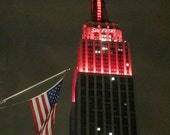 New York City Photography - Architectural Photography - Empire State Building - New York City - NYC - NYC Photos - America Flag Art