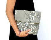 Fold Over Clutch, Gray and White Pouch, Handbag, Cosmetic Bag, Make up Pouch, Pouvh with Roses