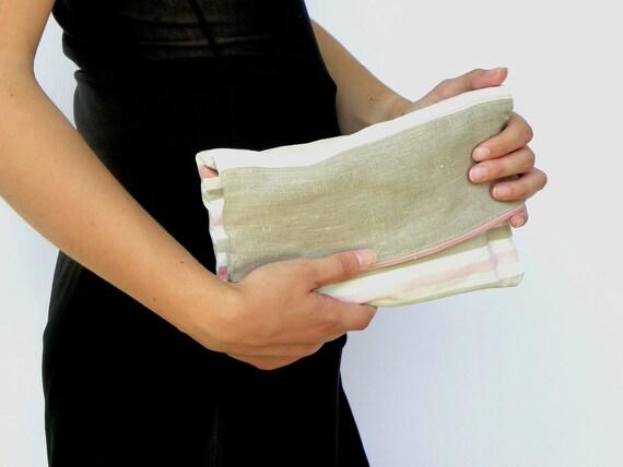 Fold Over Clutch, Evening Clutch, Linen Beige and Pink Handbag, Cosmetic Bag, Make up Pouch, Make Up Bag