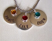 Personalized mothers grandmothers necklace hand stamped metal with names and birthstones 3 circle tags antiqued