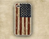 Iphone cover, Iphone 5 case- USA flag, vintage look patriotic smartphone case, Iphone 4 case (9777)