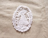 Siuc Supplies -  7 x 9.5cm Nylon Cotton Bleach white Oval Crochet Lace Motif  5pcs