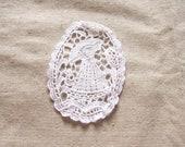 Siuc Supplies -  7 x 9.5cm Nylon Cotton Bleach white Oval Crochet Lace Motif  5pcs