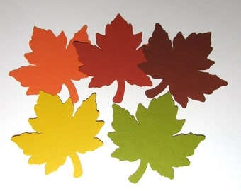 "100 Med. (3"") Fall Maple Leaves (Assorted colors) die cuts, Giving Thanks tree, escort or place cards, favor tags, journal cards"