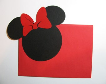 "DIY Invitation Kit - 40 pack -5"" Minnie Mouse ears with a RED bow & matching Envelopes"