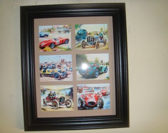 MOTOR RACING - Vintage racing cars (6 miniature pictures in a frame)
