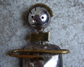 Sterling Artisan Figural Man Brooch 925 Mexico