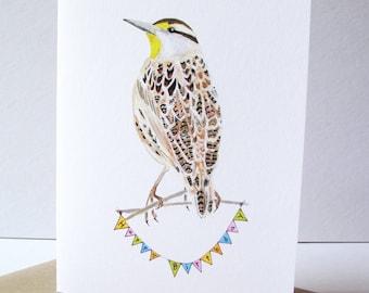 Meadowlark Birthday Card. Bird Birthday Card. Meadowlark Greeting Card. Nature Greeting Card. Hikers Greeting Card.