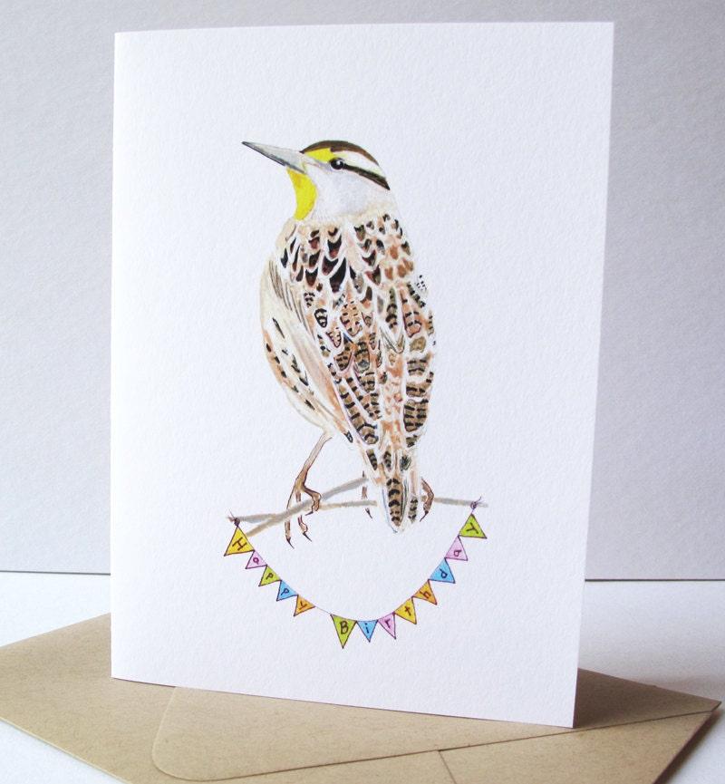 Meadowlark Birthday Card Bird Birthday Card Meadowlark – Nature Birthday Card
