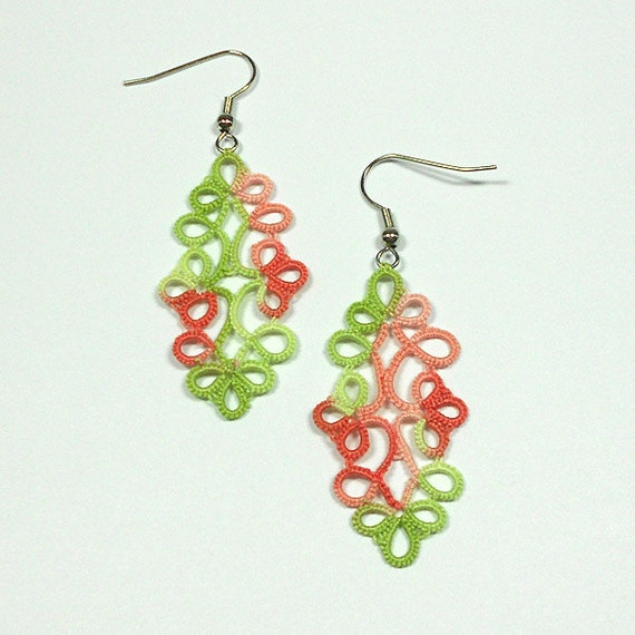 Coral Reef Tatted Earrings - FREE SHIPPING
