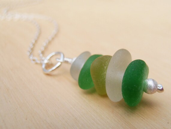 Sea Glass Stack & Silver Necklace
