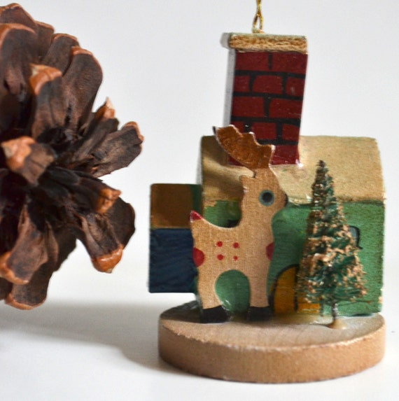 Wooden Christmas Ornament House, Reindeer, Flocked Tree. Wood Vintage Hand Painted Holiday Shabby Chic Cottage Rustic Traditional