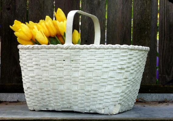 Vintage White Gathering Basket - Chippy Farmhouse Decor