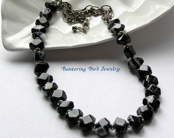 Black Gemstone Statement Necklace, Sardonyx Necklace Sterling Silver, Special Occasion, Anniversary Gift for Her