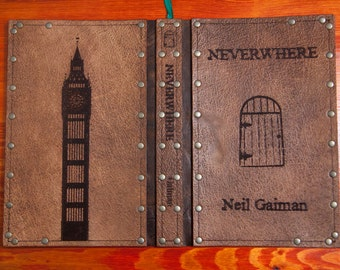 Leather covered copy of Neverwhere by Neil Gaiman