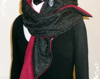 Hooded Scarf (long) black heather, burgundy