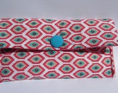 Bright Pink patterned clutch purse