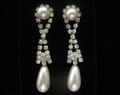 Vintage Rhinestone & Pearl Dangle Earrings are 2 1/8 inches long with round pearl above and pear shape pearl below
