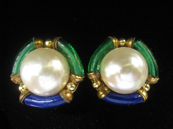 Vintage Pearl Cab Earrings with Green and Royal Blue Glass Tube Bead Border Accents