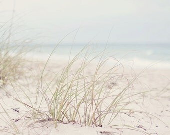 Florida Beach Photography - Fine Art Photograph - Landscape Photography - White Tan Blue Home Decor