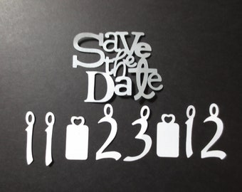 Save the date cutout with number cutouts for wedding date