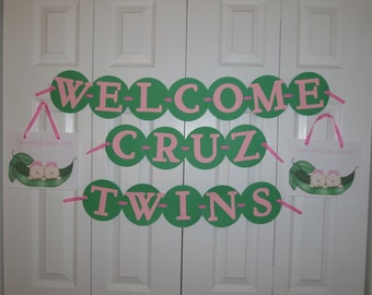 Two peas in a pod Welcome Twins baby shower banner