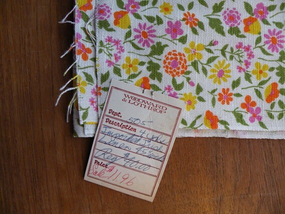 "Beautiful 4 Yards Irish Linen 45"" Wide // Floral Cotton NOS Unused"